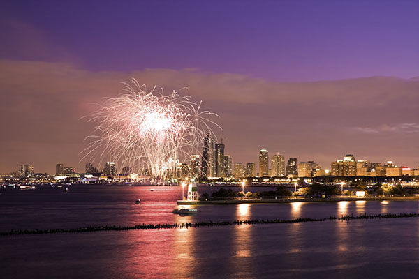 View of fireworks in Chicago, IL